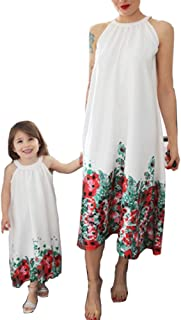 PopReal Mommy and Me Floral Printed Dresses Halter Neck Sleeveless Casual Loose Party Matching Outfits