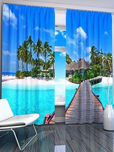 Lemare Vorhang Blickdicht Digitaldruck 2X 145x260 cm Gardinen Verdunkelung, Motiv: Tropen, Farbe: Blau