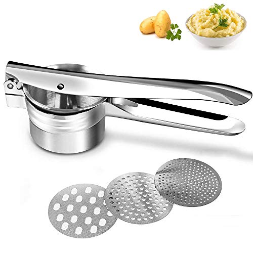 Potato Ricer Manual Ricer for Mashed Potatoes Stainless Steel Potato Masher Vegetable Ricer with 3 Interchangeable Fineness DiscsCreates Smooth Creamy Mashed Potato Fruits YamsGnocchi Baby Food