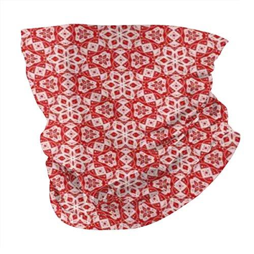 Pasamontañas unisex de microfibra para el cuello, bandana, pasamontañas, color rojo brillante y rosa de goma de mascar, mini mandala, con lunares florales, reutilizables, de tela transpirable para protección UV del sol y el polvo