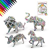 YOGINGO 3D Coloring Puzzle Set, 4 Dinosaur Animals Puzzles with 12 Pen Markers, Art and Crafts Painting 3D Puzzle, Fun Creative DIY Puzzle Gift, for Kids 5-12 Year Old