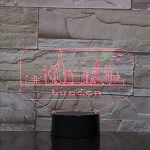 1 Pack, 3D Nachtlicht- 7 Farben London Landschaft 3D Nachtlicht Dekoration Touch Change Illusion Lava Lampe, Weihnachtsgeschenk, Halloween, Neujahr