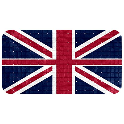 CHINFY Alfombra de baño antideslizante con bandera de Reino Unido para bañera, alfombra de PVC con orificio de drenaje, 37,3 x 68,3 cm