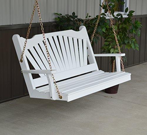 White 4' Wood Porch Swing, 2 Person Swings for Patio and Front Porches, USA Amish Made Outdoor Furniture, Fun Swinging Bench Outside Furnishings - 4ft White