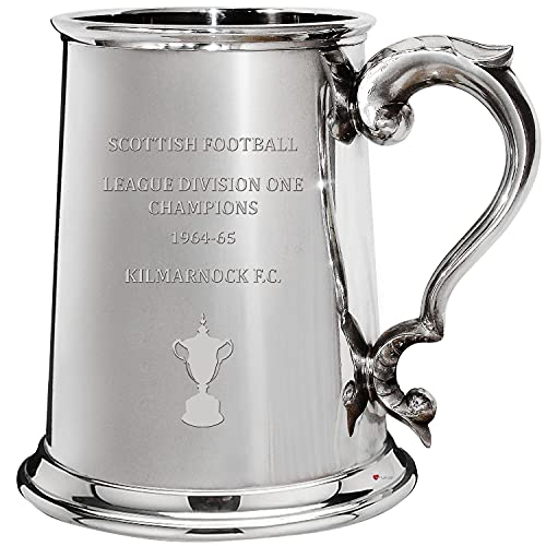 I LUV LTD 1 Pint Tankard for KILMARNOCK FC 1964-65 Division One Champions Pewter Beer Mug Football Fan Trophies Memorabilia Mens Birthday Personalised Gifts