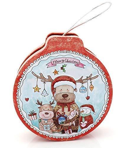 E+N Geschenk-Dose Geld-Geschenk-Idee Vorrats-Dose Keks-Dose Weihnachten Rentier Rudolph und Freunde rot/weiß/bunt, zum Öffnen/Befüllen