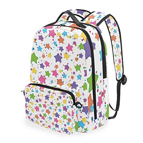 ELIENONO Fondo Transparente emoticones de Estrellas de Colores en,Mochila Escolar con Estuche de lápices extraíble,Mochila de Viaje 2 en 1 para computadora portátil de 15 Pulgadas para niñas o niños