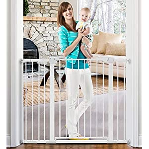 KINGSO Baby Gate 48.8″ W x 36″ H Extra Wide Tall Baby Gate for Stairs Doorways Safety Dog Pet Gates Durable Metal Easy Walk Thru Auto Close Child Gate, Include 4 Pressure Bolts, 3 Extensions, Black