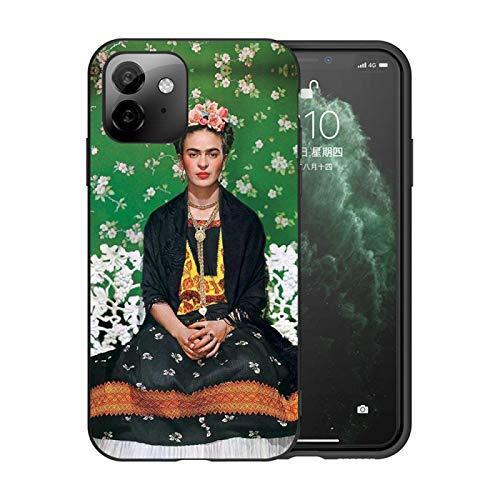 Adecuado para iPhone7/8/7 Plus/8 Plus/6/6 Plus funda para teléfono móvil a prueba de golpes, funda protectora de silicona líquida ultrafina Frida Kahlo con patrón de retrato (negro)