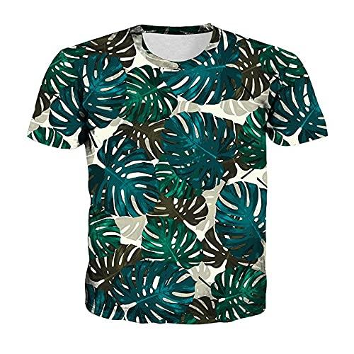 T-Shirt Hombre Verano Estilo Hip-Hop Cuello Redondo Hombre Shirt Transpirable Árbol De Coco Impresión Tendencia Shirt Casual Hombre Manga Corta Tendencia Moda Hombre Ropa De Calle