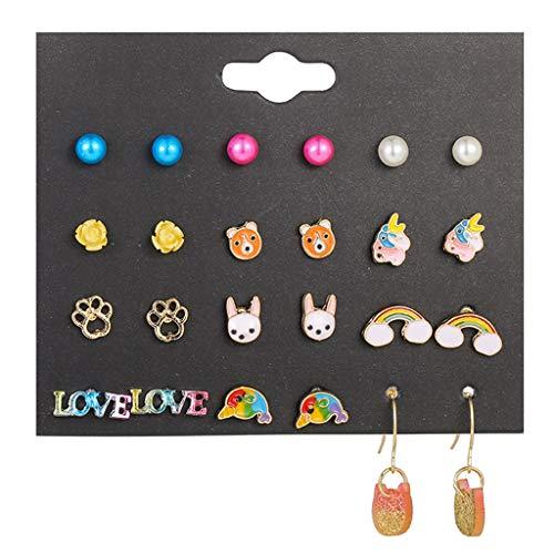 Juego de 12 pares/lote de pendientes para niños con diseño de búho de regalita, regalo de regalo para niños, bonito animal para fiestas y fiestas