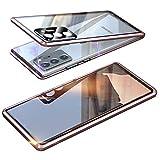 Custodia Magnetico per Samsung Galaxy Note 20 5G, Custodia con Protettore Fotocamera Cover Trasparente Doppia Faccia in Vetro Temperato Paraurti in Metallo 360 Gradi Protezione Case - Mystic Bronze