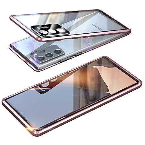 Magnetische Schutzhülle für Samsung Galaxy Note20 Ultra 5G, doppelter Objektivschutz aus gehärtetem Glas, Metallrahmen, 360-Grad-Schutz, HD-Kamera-Schutzhülle (Mystic Bronze)