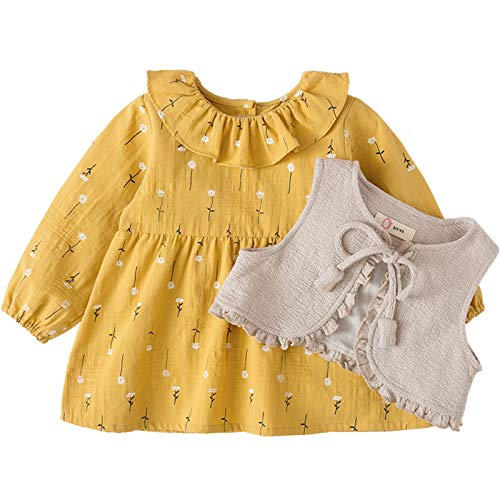 PROTAURI Sukienka dla dziewczynek dla niemowląt, dziewczynki z długim rękawem żółta sukienka na co dzień z kamizelką bez rękawów stroje odzież na co dzień, na imprezę, 0-4 lata