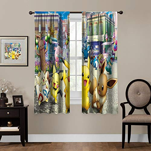 Anime Blackout Curtains,Pikachu Pichu Eevee Togepi, Rod Pocket Thermal Insulated Darkening Window Drapes for Bedroom, Cute Animal Boys Girls Room Décor, 2 Panels,63x63 inch