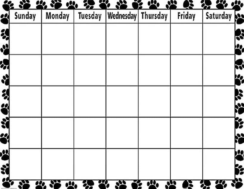 Teacher Created Resources Calendar Chart, Black & White Paw Prints (7712)