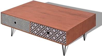 vidaXL Coffee Table 100x60x35cm Brown 4 Drawers Pin Legs Living Room Furniture