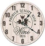 Reloj de pared grande de 25,4 cm con cristal de vino en barril, reloj de sala de estar, reloj de pared de 25,4 cm