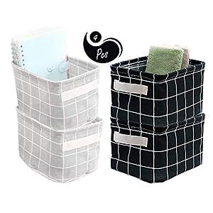 AARainbow Storage Basket Bins Canvas Mini Storage Cubes Storage Basket for Makeup, Baby Toys Liners, Books Nursery Storage Baskets with Handles for Shelves & Desks