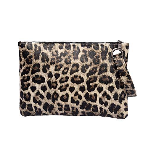 Ayliss Damen-Clutch mit Tierdruck, übergroß, Handtasche, Handtasche, Handtasche, PU-Leder, Zebramuster, Leopardenmuster