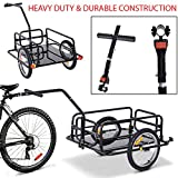 61.5' Heavy Duty & Durable Steel Frame Construction Folding Bicycle Bike Cargo Storage Cart and Luggage Trailer with Hitch for Groceries and Running Routine Errands - Black