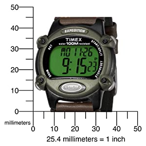 Timex Men's T48042 Expedition Full-Size Digital CAT Brown Mixed Material Strap Watch
