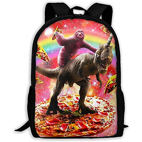 Lmtt Mochila Escolar Unisex para Adultos Divertido Sloth Ride Dinosaur Unucorn and Pizza Bookbag Casual Travel Bag