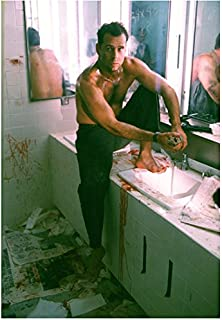 Bruce Willis as John McClane in Die Hard Sitting Bloodied Shirtless Hands in Front 8 x 10 Inch Photo