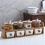 portaspezie Set da cucina in ceramica per vasetti di condimento con doppio cassetto scatola di spezie in vetro-Ru Ying condimento box