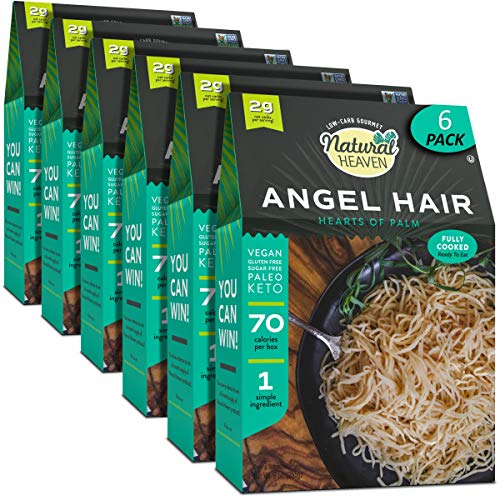 Natural Heaven Pasta Substitute | Angel Hair Hearts of Palm Noodles | 6 Count 9 oz | Kosher, Packaging May Vary