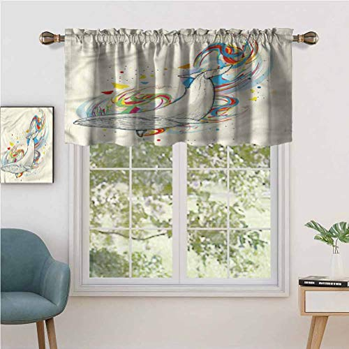 Hiiiman Cortinas opacas con bolsillo para barra de ballena en el océano, juego de 1, 91,4 x 45,7 cm para sala de estar, dormitorio, decoración del hogar