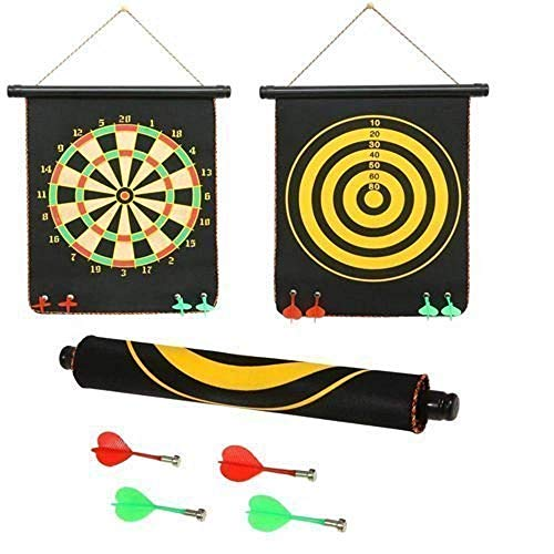 RVM Toys 12 inch Dart High Magnetic Double Side Foldable and Portable Aiming Dart Board Game with 4 Non Pointed Dart Set Indoor and Outdoor Game Toy for Kids Multi Color