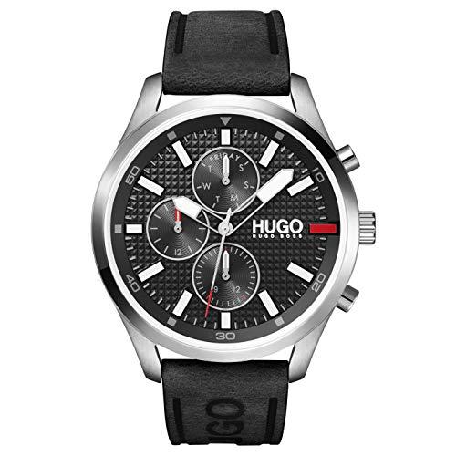 HUGO Herren Analog Quarz Uhr mit Kalbsleder aus Leder Armband 1530161