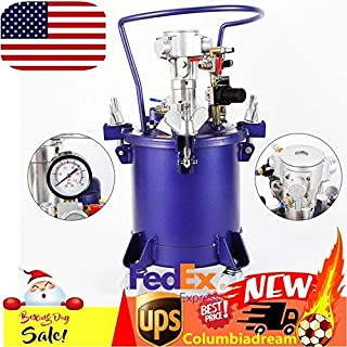 Commercial 2.5 Gallon(10 Liters) Spray Paint Pressure Pot Tank, w/Pneumatic Mixing Agitator & Fluid Pressure Regulator, Removable Stainless Steel Barrel w/Handle for Automotive, Latex, Varnishes