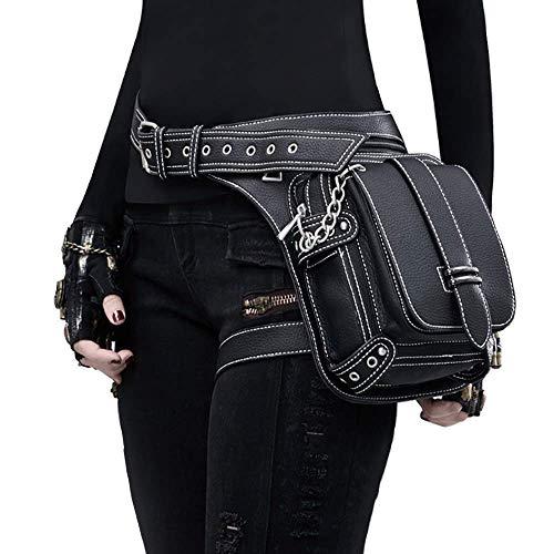 Amazon Cyber Sales Monday Deals & Sales- Steam Punk Waist Bag Fanny Pack Leather Shoulder Bag Satchels Thigh Leg Hip Holster Purse Pouch Travel Chain Messenger Bag Hiking Packs for Women Men (Rivet)