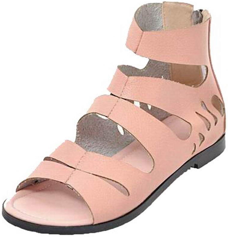 WeenFashion Women's Solid Pu Low-Heels Open-Toe Zipper Sandals, AMGLX010331