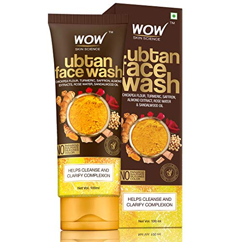 WOW Skin Science Ubtan Face Wash with Chickpea Flour, Turmeric, Saffron, Almond Extract, Rose Water & Sandalwood Oil - No Sulphate, Parabens, Silicones & Color (100mL)