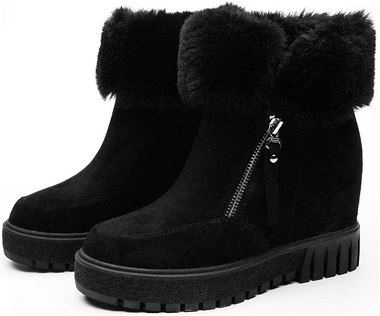 GIY Women's Winter Hidden Wedge Snow Ankle Boots Rabbit Fur Suede Zipper Platform High Heel Short Booties