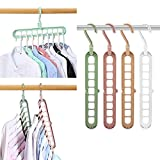 Magic Space Saving Clothes Hangers Multifunctional Smart Closet Organizer Premium Wardrobe Clothing Cascading Hanger 9 Slots, Innovative Design for Heavy Clothes, Shirts Pants Dresses Coats(4 Pack)