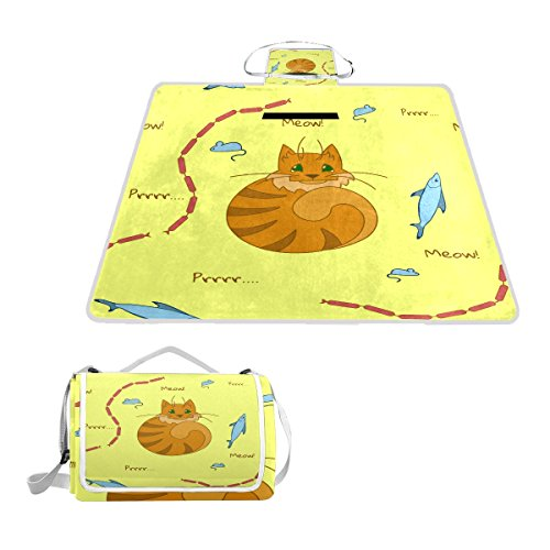 imobaby Cute Cats Favourite Food Outdoor Picnic Blanket Mat,Extra Large Foldable and Waterproof Family Camping Mat for Outdoor Beach Hiking Grass Travel,y55