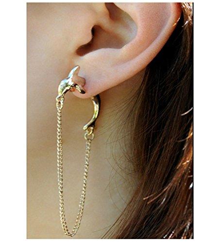 Oorbel fake plug piercing dolfijn oor cuff oordopjes oorklem oorsieraad