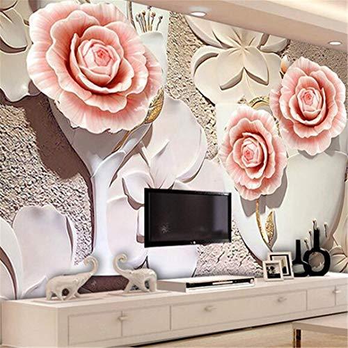 3d tapeten Wandbild Vliesstoff Benutzerdefinierte Fototapete 3D Geprägte Blume Wandverkleidung Wohnzimmer Tv Sofa Schlafzimmer Hintergrund Dekoration Wandbild Tapete, 350 Cm * 245 Cm