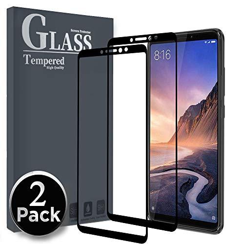 Ferilinso Panzerglas Schutzfolie für Xiaomi Mi Max 3, [2 Stück] [Full Coverage] [Full Adhesive Glue] [Selbstabsorption] Blasenfrei gehärtetes Glas Schutzfolie (Schwarz)