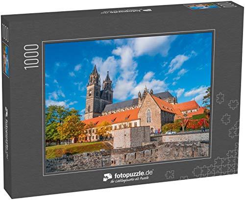 Puzzle 1000 Teile Herrlich bunter Magdeburger Dom im Herbst, Deutschland, Sonnenuntergang - Klassische Puzzle, 1000/200/2000 Teile, in edler Motiv-Schachtel, Fotopuzzle-Kollektion 'Deutschland'