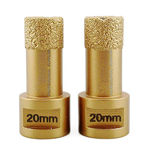 SHDIATOOL Dry Diamond Drill Core Bit 2PK 20mm Hole Saw with M14 Thread for Porcelain Tile Granite Marble