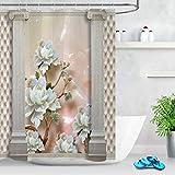 taquxinlaowan Columna Piedra Rosas Cuero Efecto Tela Cortina de baño Set Baño