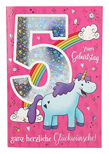 Depesche 5698.010 - Glückwunschkarte mit Musik, 5. Geburtstag, pink