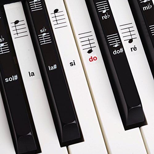 Belfort®️ Autocollants pour notes de piano + clavier pour 49 | 61 | 76 | 88 touches + Ebook gratuit | kit complet premium pour touches noires + blanches | do-ré-mi-fa-sol-la-si | instructions français