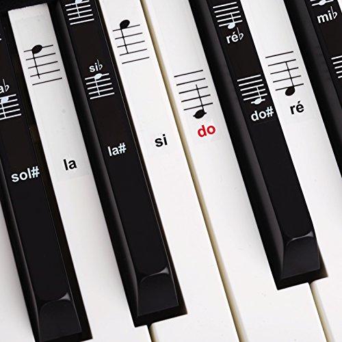 Belfort Autocollants pour notes de piano + clavier pour 49   61   76   88 touches + Ebook gratuit   kit complet premium pour touches noires + blanches   do-ré-mi-fa-sol-la-si   instructions français
