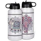 KittyliNO5 Botella de acero inoxidable Travel Mug Mandala elefantes de doble pared aislado tazas con tapa de pajita taza de...
